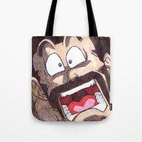 satan Tote Bags featuring Mr. Satan by DeMoose_Art