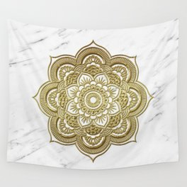 Gold mandala on marble Wall Tapestry