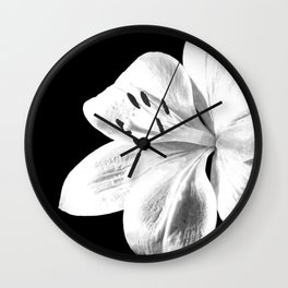 White Lily Black Background Wall Clock