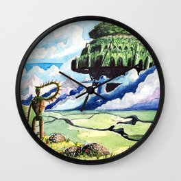 Laputa, Relaxing Dreamy Cloud, Blue Sky, Green Scenery Painting, Japanese animation Wall Clock