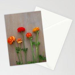 Orange Ranunculus flowers Stationery Cards