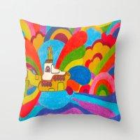 yellow submarine Throw Pillows featuring Yellow Submarine by Jaime Viens