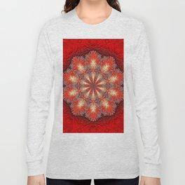 Red Vintage Flower Background Pattern Long Sleeve T-shirt