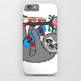 Skater Sloth and the donuts rain iPhone Case