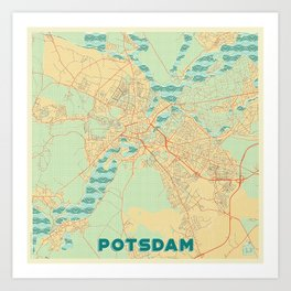 Potsdam Map Retro Art Print