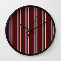 lindsay lohan Wall Clocks featuring Lindsay Stripe Too by DesignsByMarly