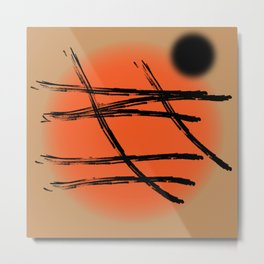 Black abstract Japan lines and marks on the orange setting sun Metal Print