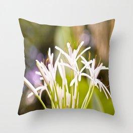 White Spider Lily  Throw Pillow