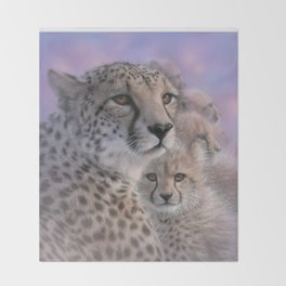 Cheetah Mother and Cubs - Mothers Love Throw Blanket