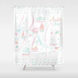 Austin, Texas Illustrated Calligraphy Map Shower Curtain