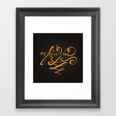 Kiss Me Typo Framed Art Print