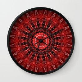 Mandala deep red Wall Clock