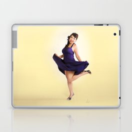 """Flirt Skirt"" - The Playful Pinup - Cheesecake Pinup Smile in Purple Dress by Maxwell H. Johnson Laptop & iPad Skin"