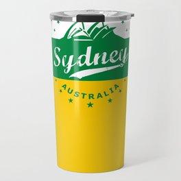 Sydney City, Australia, green yellow, poster Travel Mug