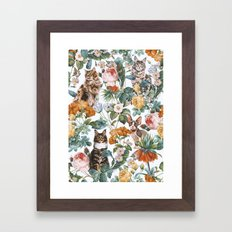Cat and Floral Pattern III Framed Art Print