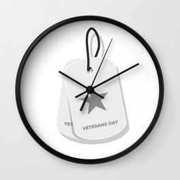 Veterans Day Commemorative Military Tag Design Wall Clock