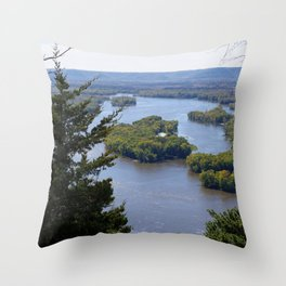 Upper Mississippi River, looking downriver from Buena Vista Park, Alma, WI Throw Pillow