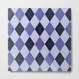 Blue Argyle Pattern Metal Print