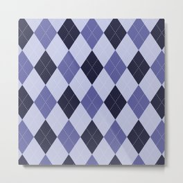 Blue Argyle Pattern Metal Print