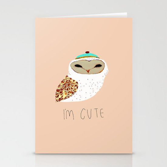 i'm cute owl illustration  Stationery Cards