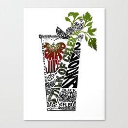 Bloody Mary Cocktail Recipe - Linoleum Cut Letterpress Design by BirdsFlyOver Canvas Print
