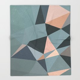 Moody urban Geometry - blue grey peach Throw Blanket