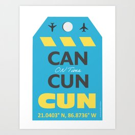 CAN Mexico Cancun airport tag Art Print