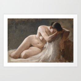 Nude Woman by Boleslaw Barbacki Art Print