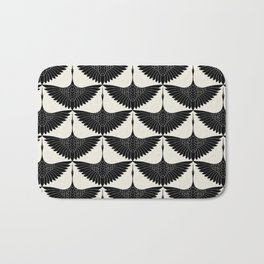 CRANE DESIGN - pattern - Black and White Bath Mat