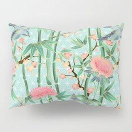 Bamboo, Birds and Blossom - soft blue green Pillow Sham