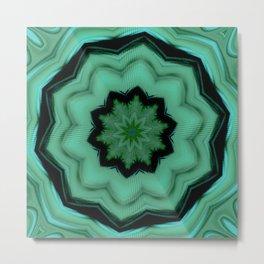 Twirly Mandala in Green Metal Print