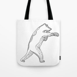 Grizzly Bear Boxing Doodle Art Tote Bag