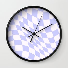 Warped Check - Periwinkle  Wall Clock