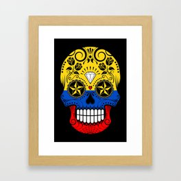 Sugar Skull with Roses and Flag of Colombia Framed Art Print