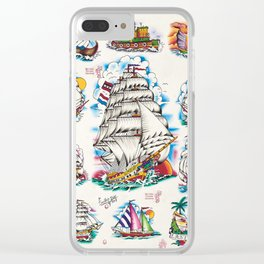 Traditional Tattoo Flash art Nautical Designs Clear iPhone Case