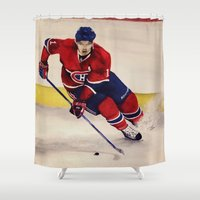 hockey Shower Curtains featuring Canadian hockey by LisaBCreations