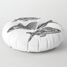 Flying Fish | Black and White Floor Pillow