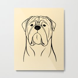 Bullmastiff (Beige and Black) Metal Print