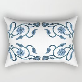 Blue Paisley Double Heart 1 Rectangular Pillow