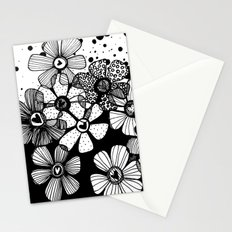 Black and White Abstract Flowers Stationery Cards
