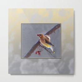 Cedar Waxwing With Berry Metal Print