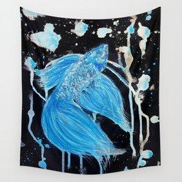 Blue Splatter Drip Betta Wall Tapestry