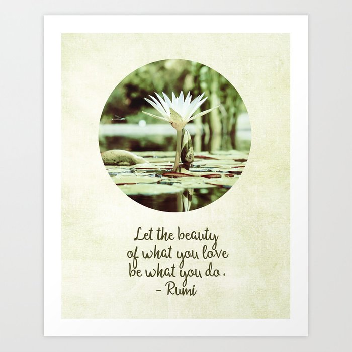 Zen Flower Water Lily With Inspirational Rumi Quote Art Print