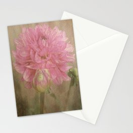 Soft Graceful Pink Painted Dahlia Stationery Cards