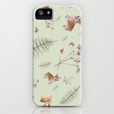 pale green holiday corgi iPhone (5, 5s) Slim Case