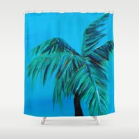 oasis Shower Curtains featuring Palm Oasis by Solveig Noll