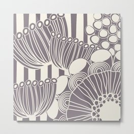 Floral Design 4 in Aubergine and Ivory Metal Print