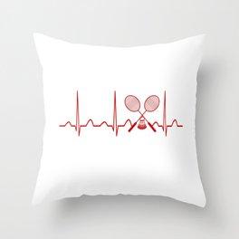 BADMINTON HEARTBEAT Throw Pillow