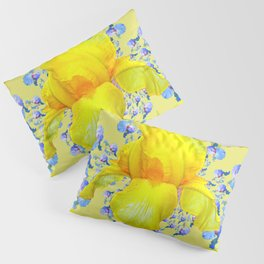YELLOW & BLUE-WHITE IRIS BLACK ABSTRACT PATTERN Pillow Sham