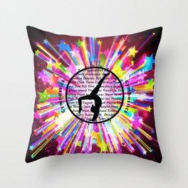 rainbow star gymnast Throw Pillow